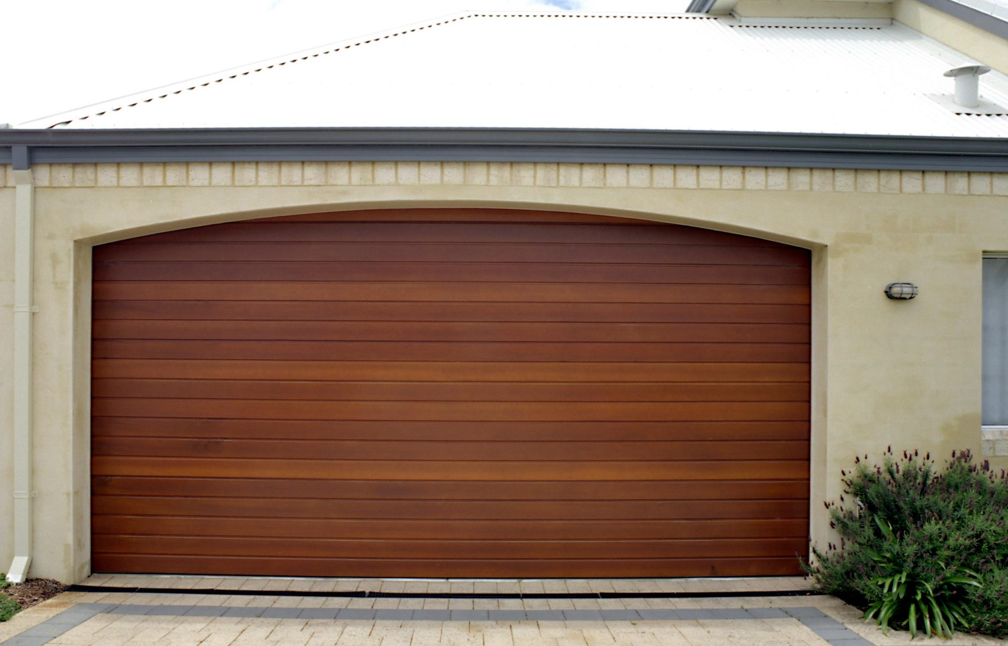 Timber garage door refurbished and protected with Sikkens timber stains