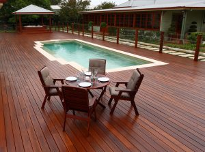 Poolside decking treated with Sikkens wood stains